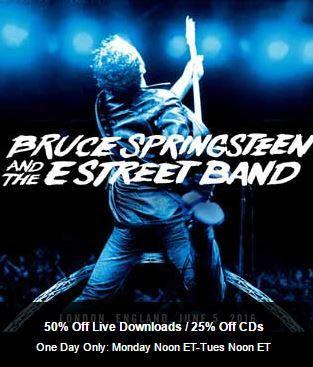 Nugs net: Bruce live downloads 50% off / CDs 25% off on Nov